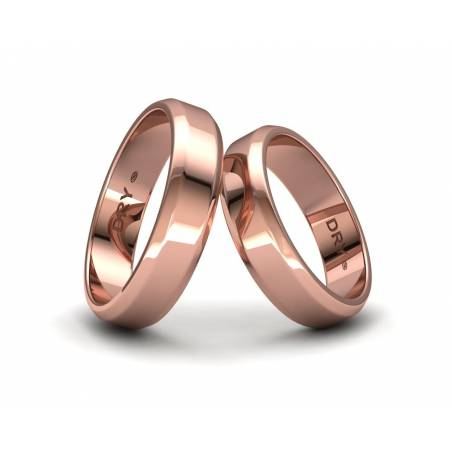 Alianzas de boda biseladas 5mm oro rosa ref. 190903