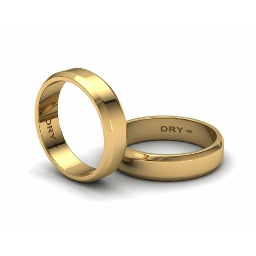Alianzas de boda biseladas 5mm oro amarillo ref. 190903