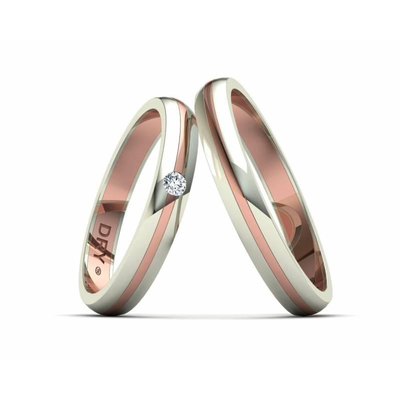 Alianzas oro dos colores blanco rosa 3mm 191705