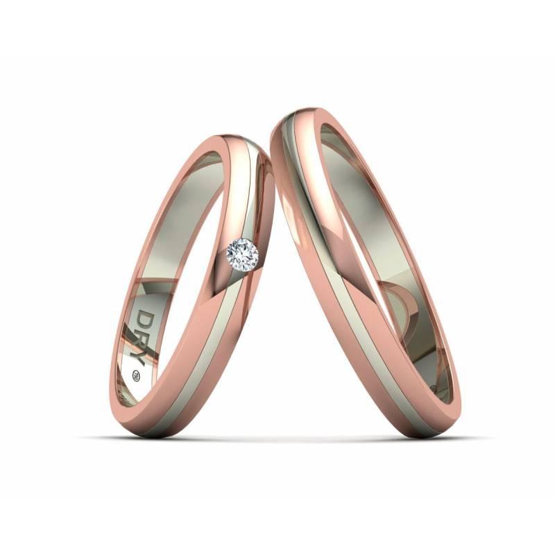 Alianzas oro dos colores rosa blanco 3mm 191705