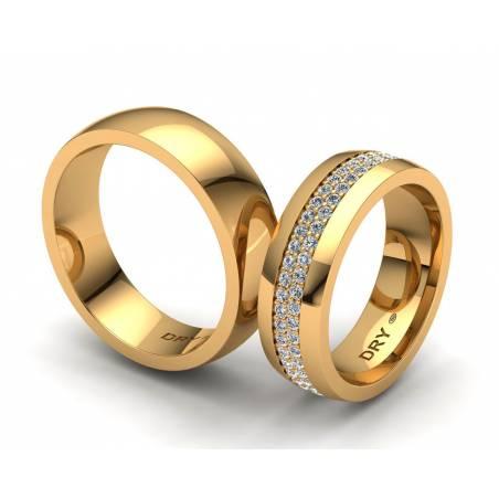Anillos de boda en oro amarillo y diamantes