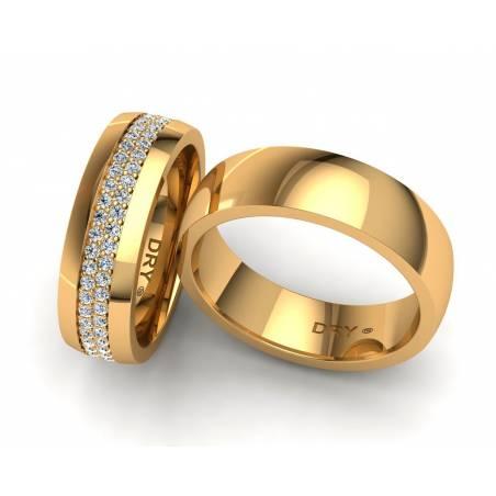 Lujosas alianzas oro amarillo con diamantes