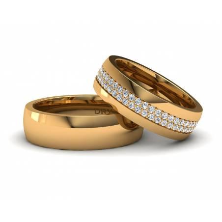 Exclusivas alianzas en oro amarillo con un montón de diamantes