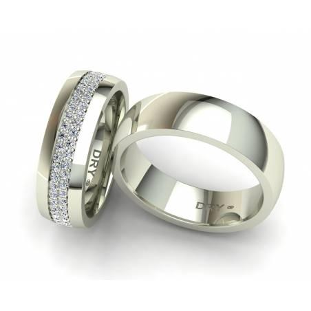 Elegantes alianzas de boda oro blanco y diamantes