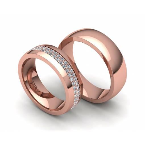 Anillos de boda en oro rosa y brillantes