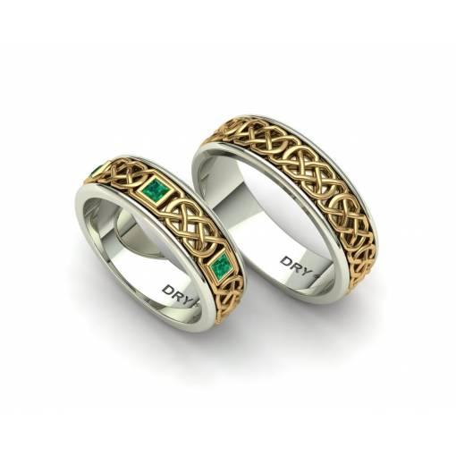 Emeralds Celtic Knots Wedding bands