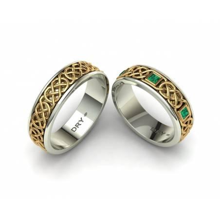 Anillos de boda celtas con esmeraldas en oro bicolor