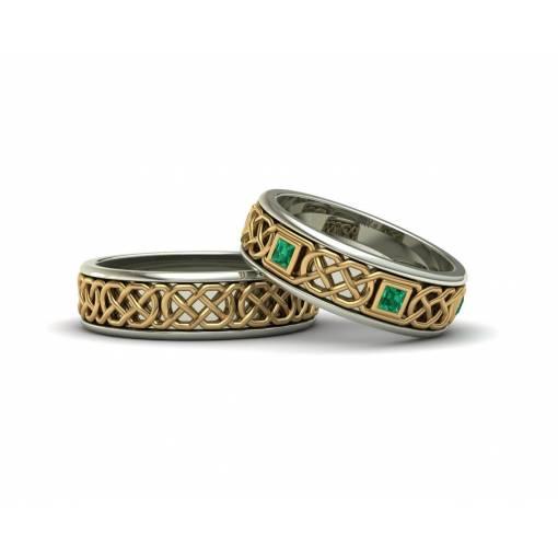 Alianzas celtas en oro 18k con esmeraldas