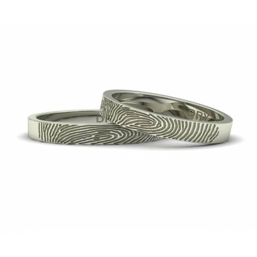 Alianzas huella dactilar oro blanco 3 mm