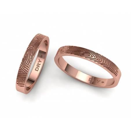 Alianzas huella dactilar oro rosa 3 mm