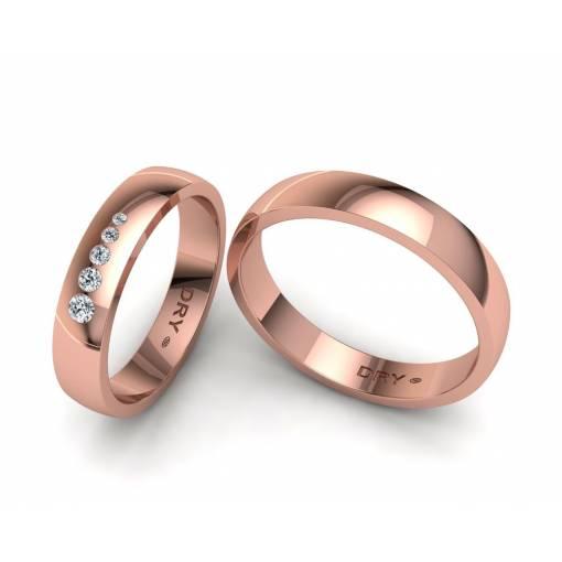 Alianzas con cinco diamantes en oro rosa de 4mm 190921