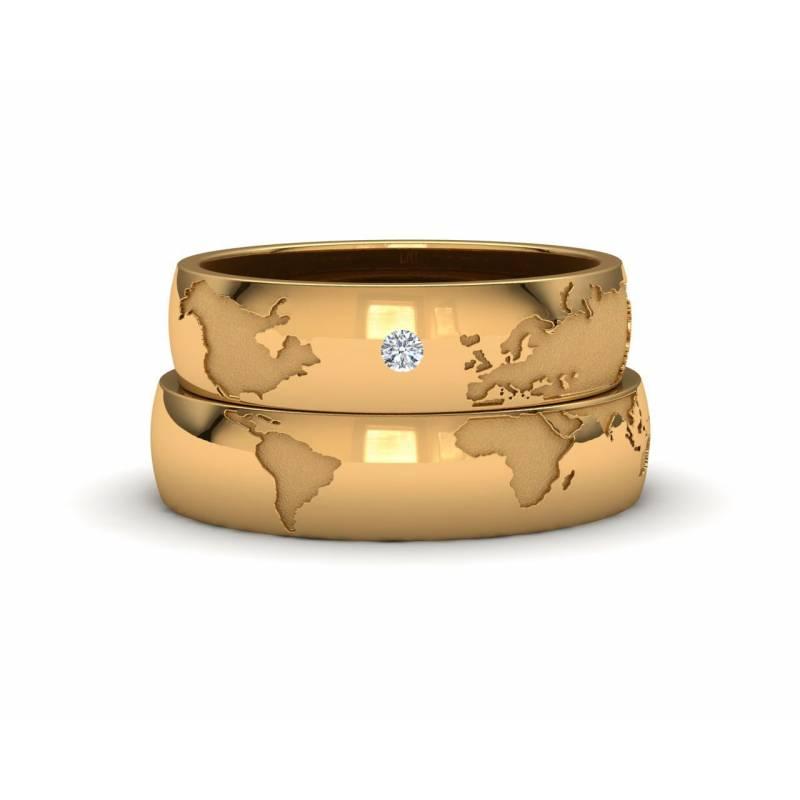 Alianzas mapamundi oro amarillo con diamante ancho 5mm