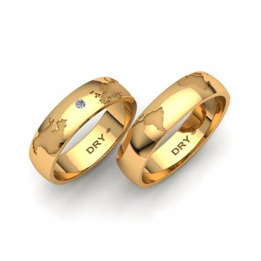 Stunning World Map Wedding Bands 18k yellow gold 5mm with a diamond accent