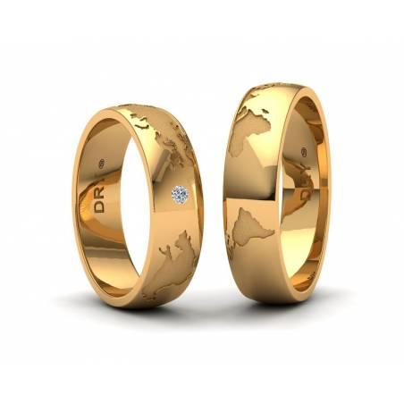 Anillos mapamundi oro amarillo 5mm con un diamante