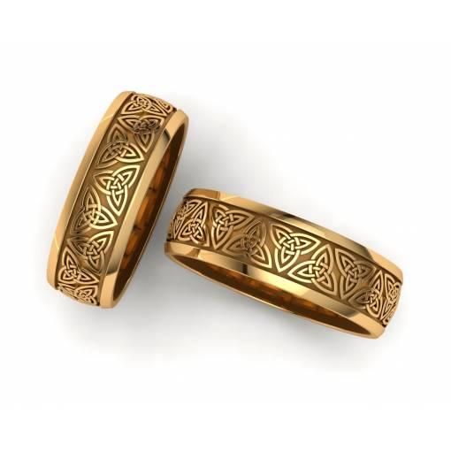 Alianzas de boda triqueta celta oro amarillo 6 mm