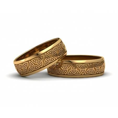 Anillos de boda triqueta celta oro amarillo 6 mm