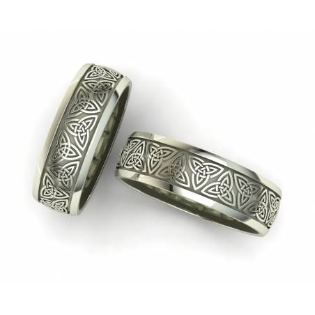 Alianzas de boda triqueta celta oro blanco 6 mm