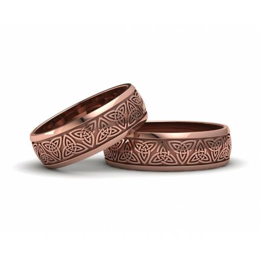 Anillos triqueta celta oro rosa 6 mm
