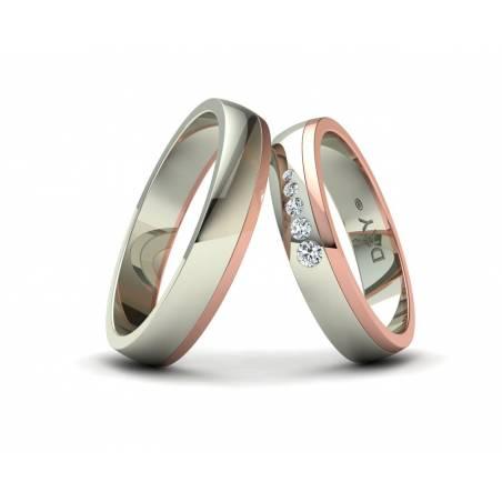 Alianzas Bicolor con Diamantes en oro blanco y rosa