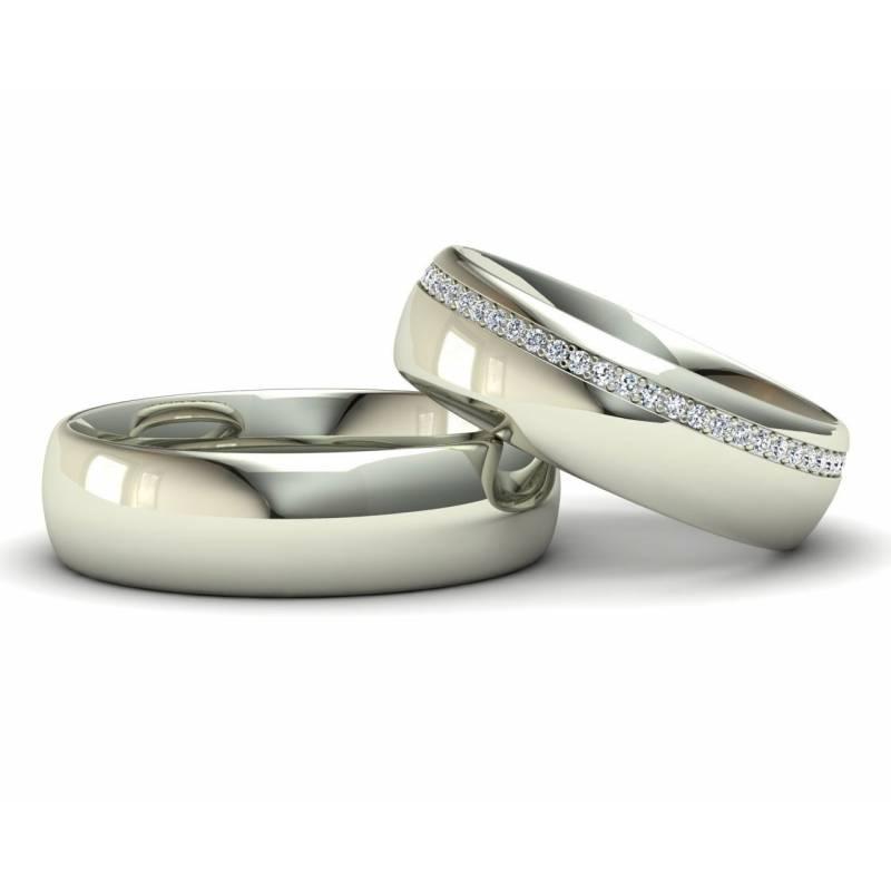 Alianzas con diamantes infinitos en oro blanco de 18 quilates