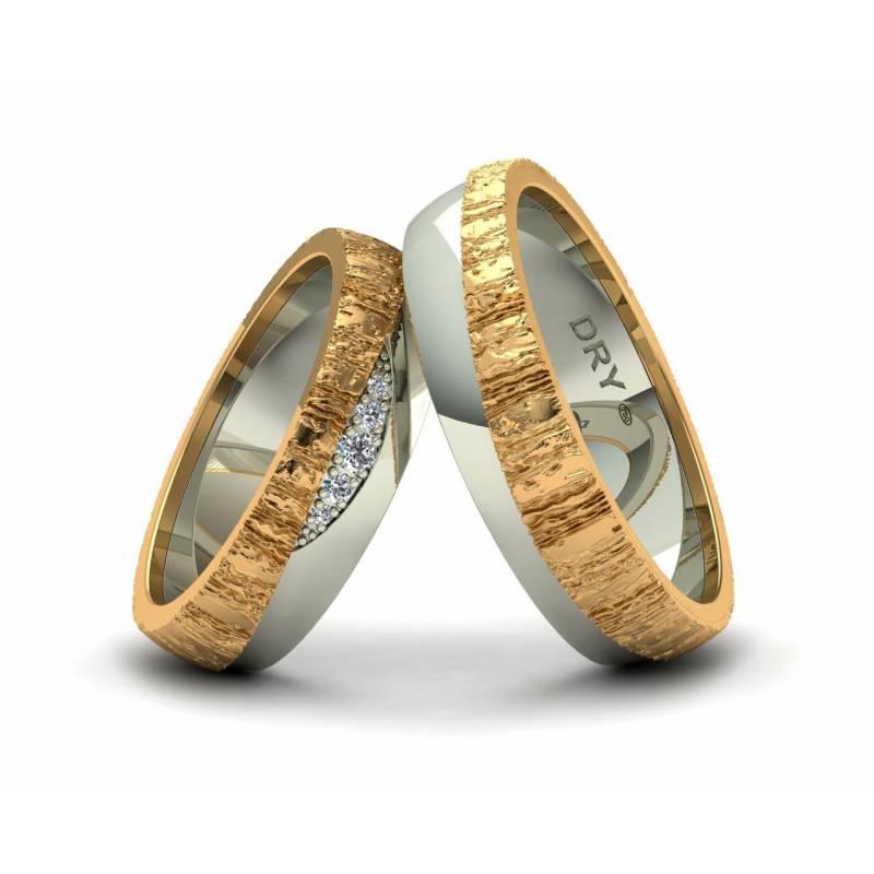 Exclusivas alianzas con textura orgánica de oro bicolor y diamantes