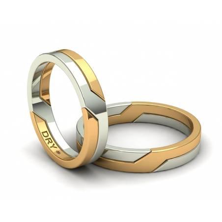 Alianzas entrelazadas oro amarillo y blanco 4mm