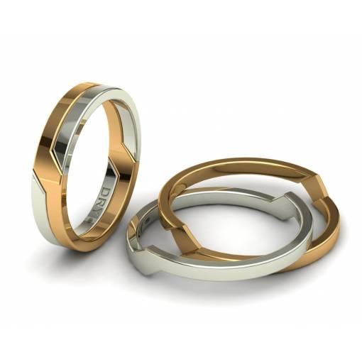Alianzas de boda entrelazadas oro amarillo y blanco 4mm