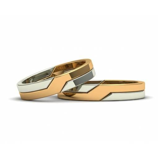 Originales alianzas entrelazadas oro bicolor amarillo y blanco 4mm