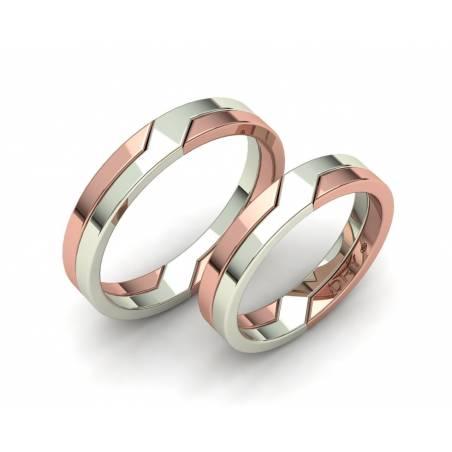 Alianzas entrelazadas en oro blanco  y rosa 4mm