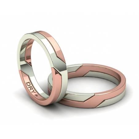 Alianzas de boda entrelazadas en oro blanco y rosa 4mm