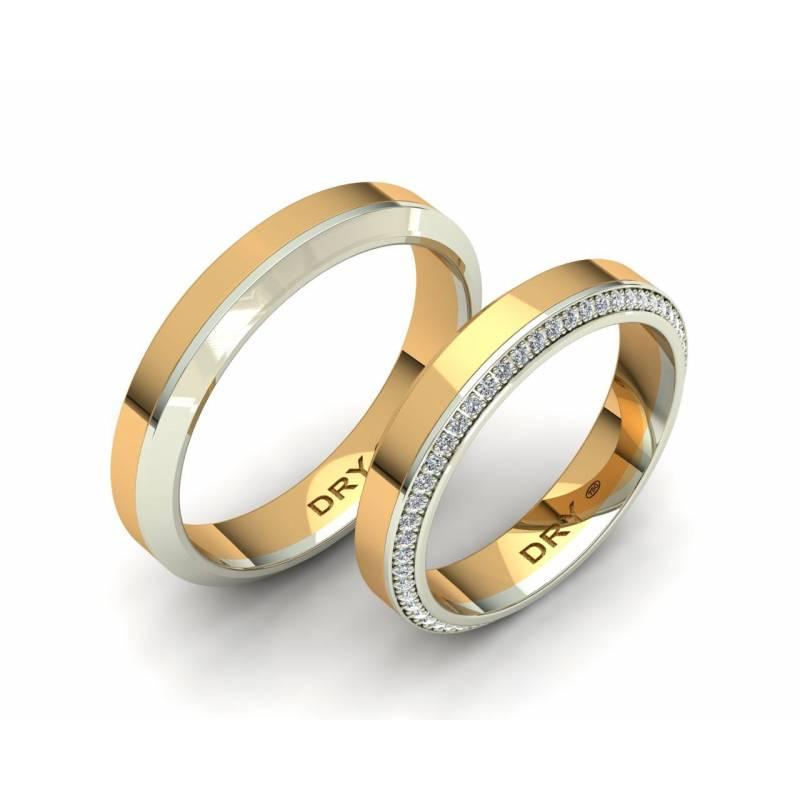 Alianzas biseladas con diamantes oro amarillo y blanco 18k