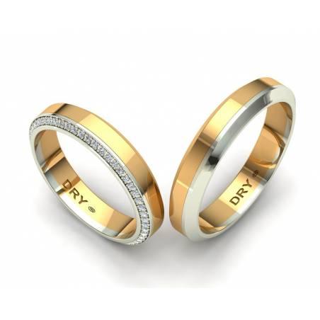Alianzas de boda con diamantes oro amarillo y blanco 18k