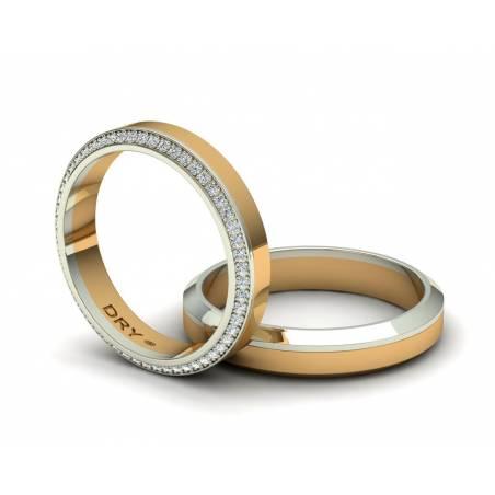 Anillos de boda con diamantes oro amarillo y blanco 18k