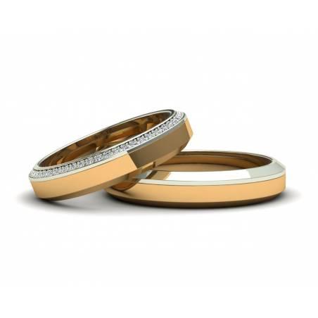 Un diseño súper elegante de alianzas de boda con diamantes oro amarillo y blanco 18k con un ancho de 4mm