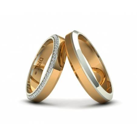 Elegantes alianzas con diamantes oro amarillo y blanco 18k
