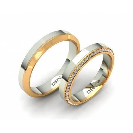Exclusivas alianzas de boda en oro de dos colores con diamantes