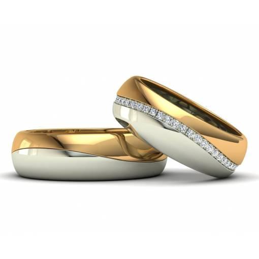 Alianzas de boda bicolor con brillantes