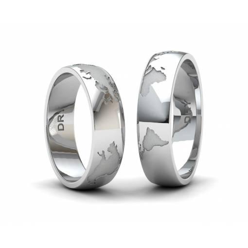 Alianzas de boda mapa del mundo de Plata sin diamante