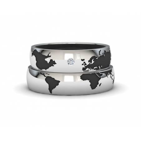 Alianzas Mapamundi de Plata envejecida con un diamante ancho pieza 5mm