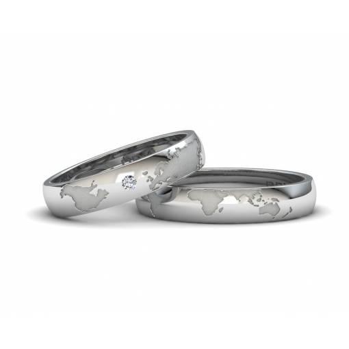 Alianzas Mapamundi de Plata con un diamante anchura pieza 5mm