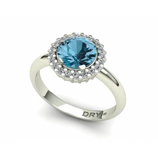 Anillo con Topacio Azul y Diamantes