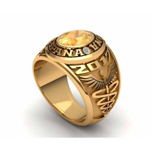 Medicine yellow gold class ring