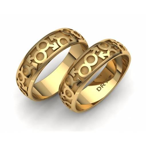 Anillos de boda Gay en oro amarillo 18k ancho 6mm