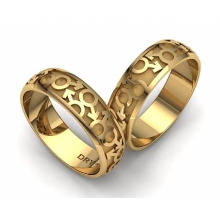 Alianzas de boda Gay en oro amarillo 18k ancho 6mm