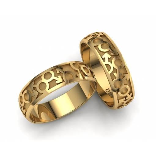Originales alianzas de boda LGTBI en oro amarillo 18k ancho 6mm