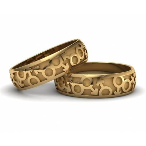 Originales anillos de boda LGTBI en oro amarillo 18k ancho 6mm