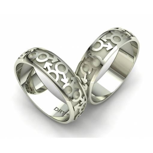 Alianzas de boda simbolos masculinos en oro blanco
