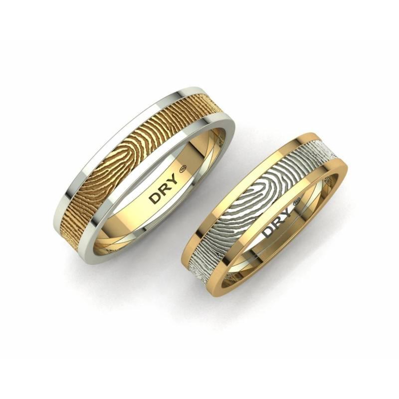 Alianzas de boda huella dactilar oro amarillo y blanco 5mm