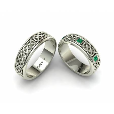 Emerald Celtic Knots Wedding Rings