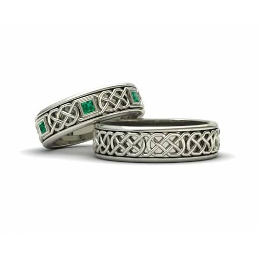 Alianzas de boda celtas con esmeraldas en oro blanco 18k